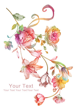 element: watercolor illustration flowers in simple background