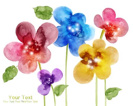 rendering: watercolor illustration flowers in simple background