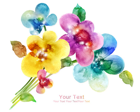 simple background: watercolor illustration flowers in simple background