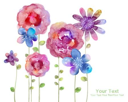 flores ilustración acuarela en fondo simple