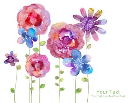 Ilustração da aguarela flores no fundo simples