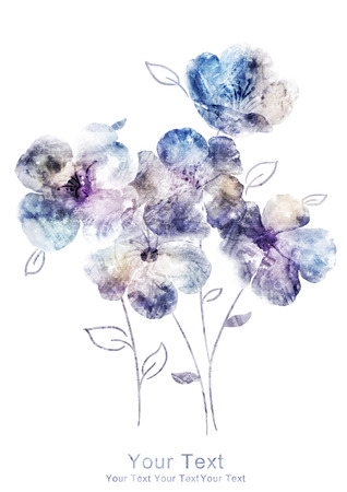 macro leaf: watercolor illustration flowers in simple background