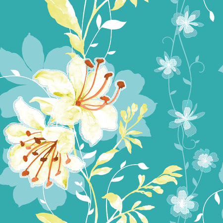 vigorous: Vivid repeating floral - For easy making seamless pattern use it for filling any contours