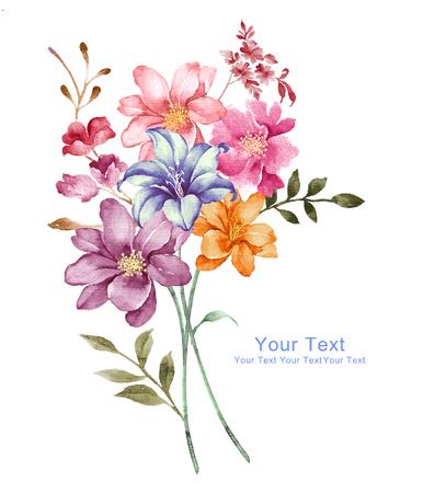 Aquarell Illustration Blumen in einfachen Hintergrund
