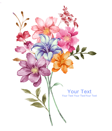 fleurs aquarelle d'illustration en arrière-plan simple