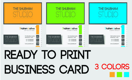 proffesional: Dynamic Business Card Design In 3 Colours Illustration