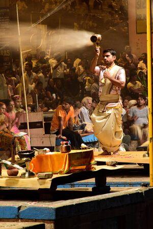 indian tradition: Evening Hindu prayers at Varanasi, India