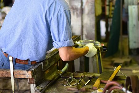 skilled: Skilled Glass Factory worker Stock Photo