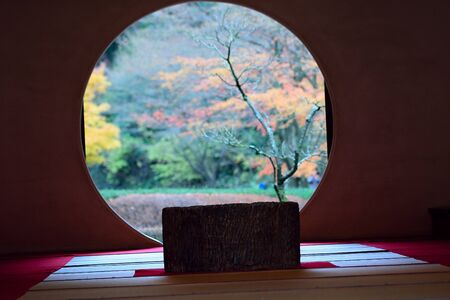Japanese Tea house  Autumn through window