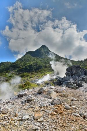 Hot spring vents at Owakudani valley at Hakone in Japan