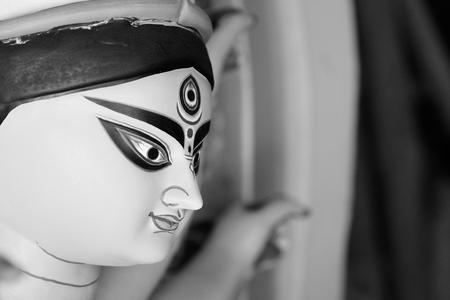 Idol of Hindu Goddess Durga during Bengal's Durga Puja festival Stock Photo