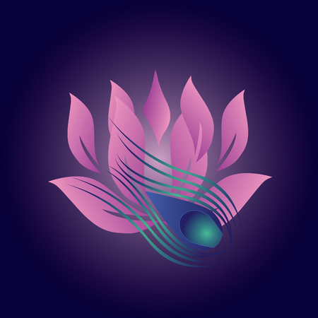 Beautiful lotus flower with peacocks wings