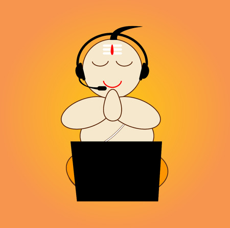 A hinduism priest with laptop and earphone (pujari).