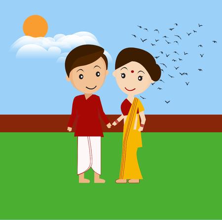Sweet indian couple Illustration