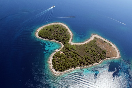 croatia: Island Jerolim from air