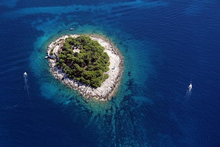 croatia: Island Galesnik from air Stock Photo