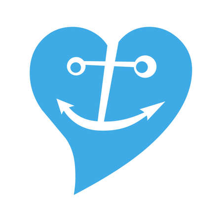 anchor in blue heart making smile in sea drop Stock Vector - 11480122