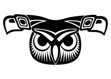 night bird: owl face Illustration
