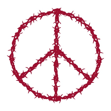 barbwire: peace symbol made of barbed wire, vector illustration