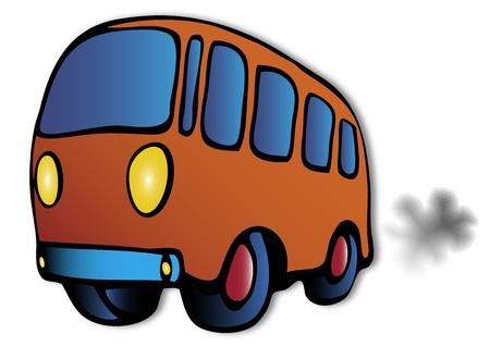 pollution art: bus illustration