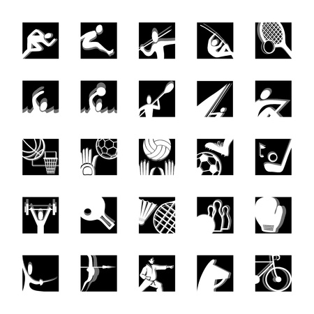 sport icon set illustrated vector pictograms black and white Vector
