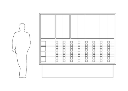 Public street info panel scheme with the man silhouette, with the places predicted to put maps and buttons Ilustração