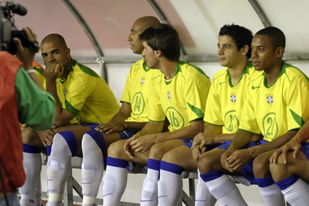 substitute: Split, Croatia - August 17, 2005 - Brazil football reserves sitting on the bench during the friendly football game Croatia - Brazil,