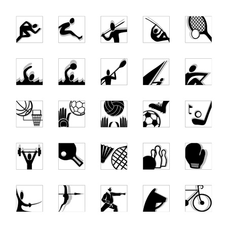 sport icon set illustrated pictograms black and white invert Vector