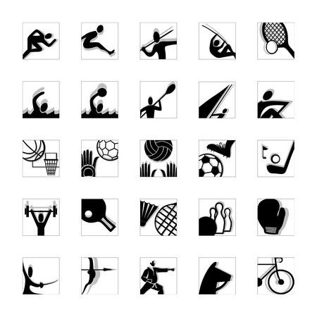pole vault: sport icon set illustrated pictograms black and white invert Illustration