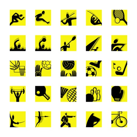 sport icon set illustrated pictograms black and yellow Vector
