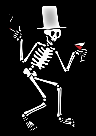 doomsday: drinking skeleton with hat and cigarette