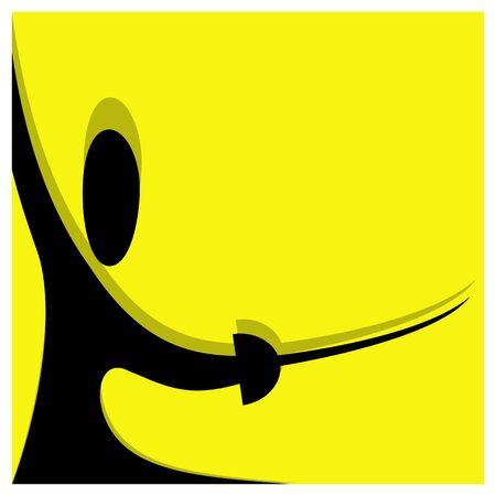 swordsmanship: fencing vector pictogram yellow black