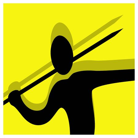 javelin: javelin throwing vector pictogram yellow black Illustration