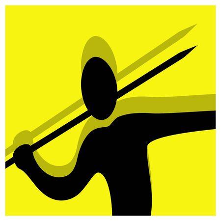 lanzamiento de jabalina: lanzamiento de jabalina vector pictograma amarillo negro