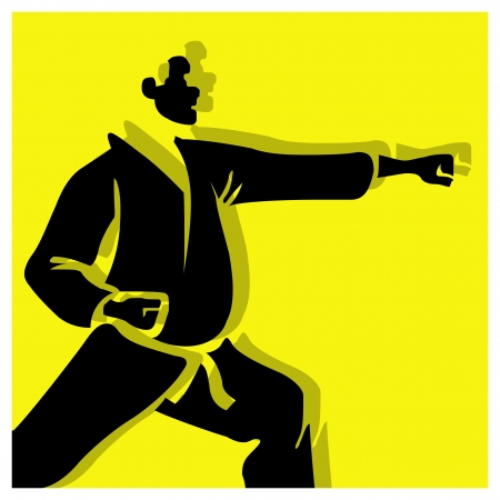 karate vector pictogram yellow black Vector