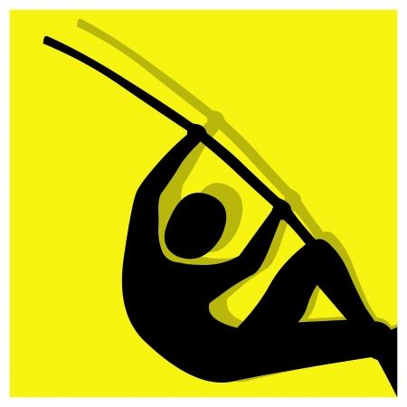 pole vault: pole vault vector pictogram yellow black Illustration
