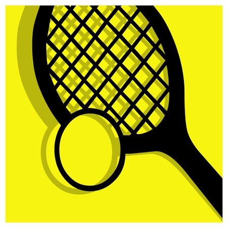 raquet: tennis vector pictogram yellow black Illustration