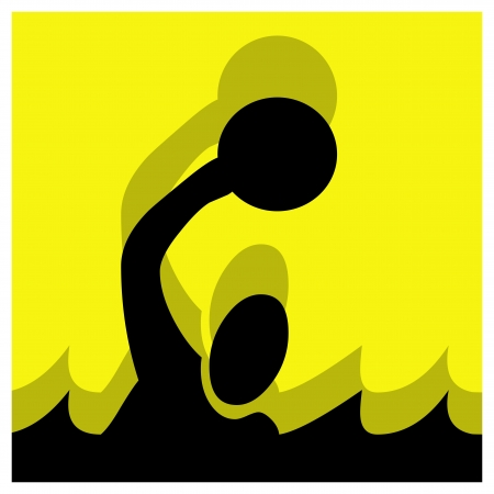 waterpolo: water polo vector pictogram yellow black Illustration