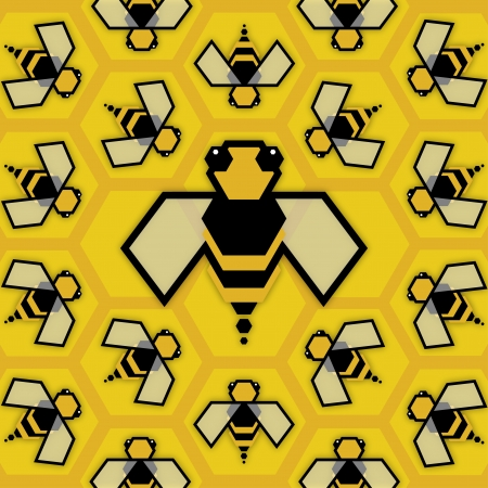 Bee Queen in hive with the working bees, illustration Vector