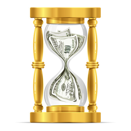 Time and money concept - Hourglass full of 100 dollar banknotes vector illustration Vector