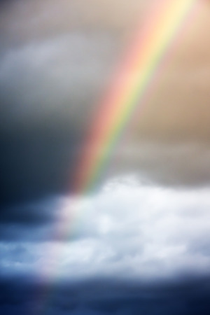 rainbow sky: Rainbow above the clouds on the sky abstract background
