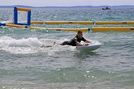Split, Croatia - 30 April, 2016: Presentation of the new electric jet surfing board kymera bodyboard in the water park