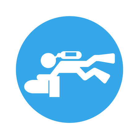 scuba scooter diver pictogram icon vector illustration round