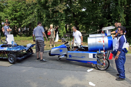 Zagreb, Croatia - June 12, 2011: Funny rocket racing team on Red Bull Soapbox Stock Photo - 115967562
