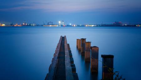 shipyard: Shipyard Park at night Stock Photo
