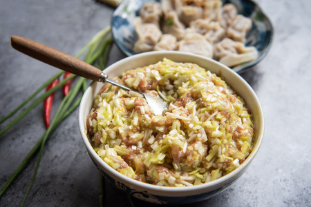 Chive yellow pork filling Stockfoto