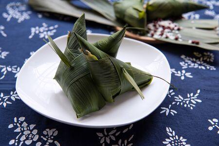 Chinese sticky rice dumplings (Zongzi). Dragon boat festival food.
