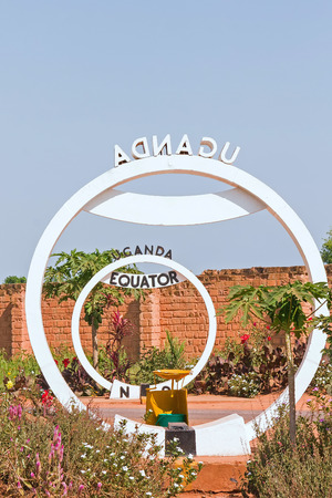 Equator crossing sign monument in Uganda Stock Photo