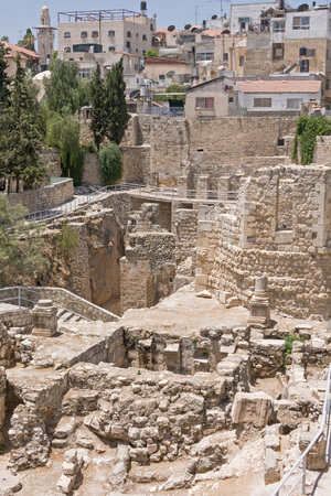 bethesda: Ancient Pool of Bethesda ruins in Old City of Jerusalem Stock Photo