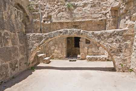 bethesda: Arch before building entrance in Pool of Bethesda ruins Stock Photo